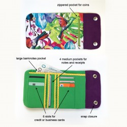 Medium size wallet with a lot of pockets - sewing pattern and tutorial