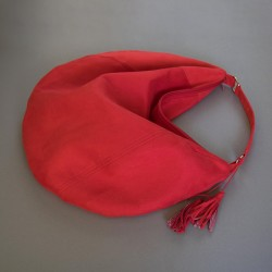 Large, red slouchy bag. How to sew a hobo bag, sewing patterns.