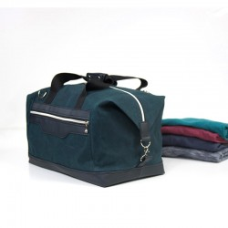 Sea blue duffel bag, wax canvas bag.