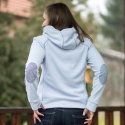 Hoodie with contrasting elbow patches - sewing pattern