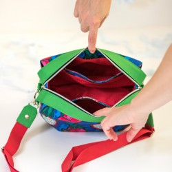 How to sew a bag with inside divided into 3 parts. Lining with side pockets.