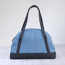 Bowler bag with faux leather handles, baby bag sewing pattern and tutorial