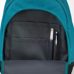 Backpack with a front zippered pocket and inside pocket panel.