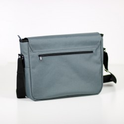 Large bag with a zippered pocket on the back. Laptop bag for a man.