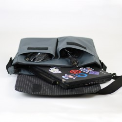 Spacious bag with a zipper closure and a flap. How to sew a laptop bag.