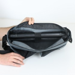 Padded laptop bag sewing pattern and tutorial. How to sew a bag with a laptop pocket.