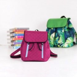 Small backpack sewing pattern and tutorial. How to sew a backpack with a flap and a drawstring closure.