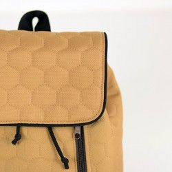 Backpack with a flap and contrasting piping - sewing pattern and tutorial.
