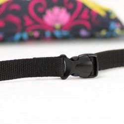 Hip bag with a buckle closure and an adjustable belt.